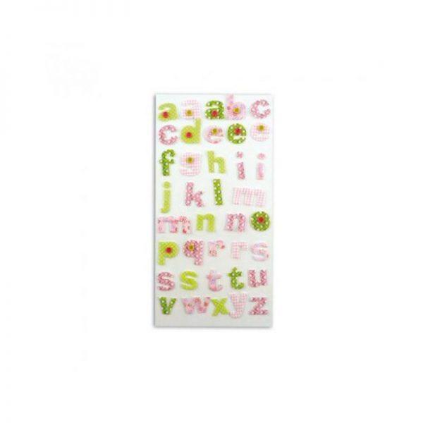 Alfabet tela rosa/verd -STB06
