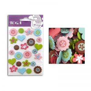 Brads flors botons ver/rosa/blau -AE97