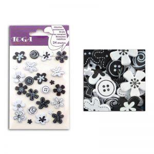 Brads flors negre/blanc -AE98
